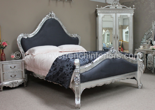 Catherine French Bed in Silver Leaf